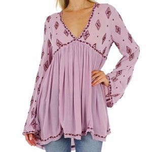 Free People Flowy Tunic with Long flare sleeves